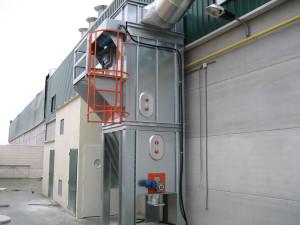Filtros con limpieza de mangas por aire comprimido y descarga a contenedor metálico