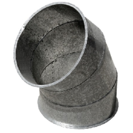 Codo acero galvanizado reforzado 45 grados montaje mediante collarines